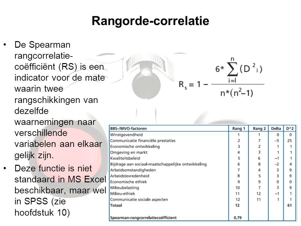 Rangorde-correlatie De Spearman rangcorrelatie- coëfficiënt (RS) is een indicator voor de mate waarin twee rangschikkingen van dezelfde waarnemingen n