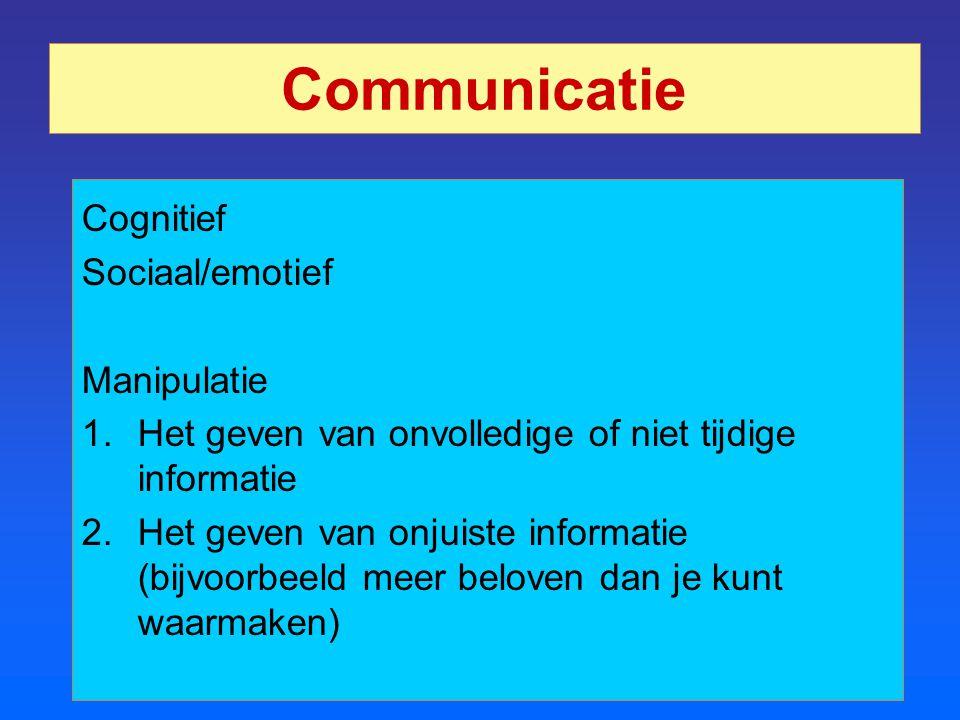 Communicatie Cognitief Sociaal/emotief Manipulatie 1.Het geven van onvolledige of niet tijdige informatie 2.Het geven van onjuiste informatie (bijvoor
