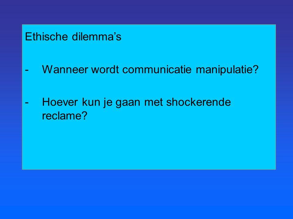 Ethische dilemma's -Wanneer wordt communicatie manipulatie? -Hoever kun je gaan met shockerende reclame?