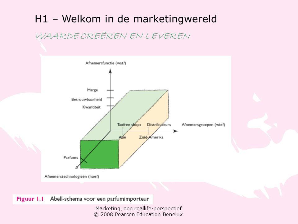 Marketing, een reallife-perspectief © 2008 Pearson Education Benelux H1 – Welkom in de marketingwereld WAARDE CREËREN EN LEVEREN Evolutie van het marketingconcept Product- en productietijdperk Verkooptijdperk Consumententijdperk Het Nieuwe Tijdperk: geld verdienen en ethisch handelen