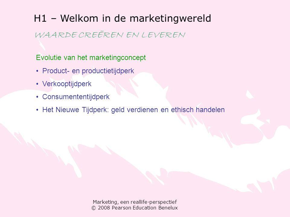 Marketing, een reallife-perspectief © 2008 Pearson Education Benelux H1 – Welkom in de marketingwereld WAARDE CREËREN EN LEVEREN Evolutie van het mark