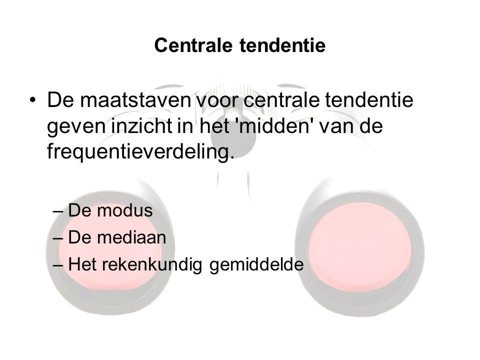 Centrale tendentie De maatstaven voor centrale tendentie geven inzicht in het 'midden' van de frequentieverdeling. –De modus –De mediaan –Het rekenkun