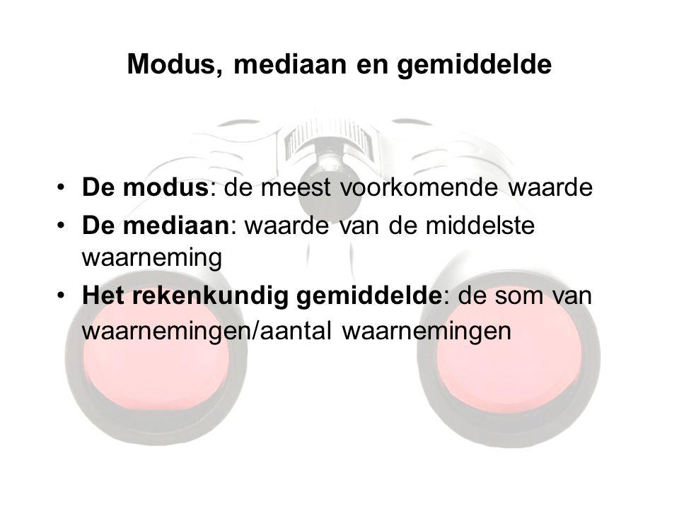 Modus, mediaan en gemiddelde De modus: de meest voorkomende waarde De mediaan: waarde van de middelste waarneming Het rekenkundig gemiddelde: de som v