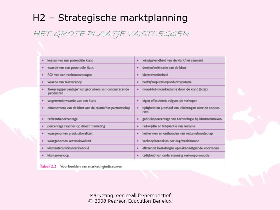 Marketing, een reallife-perspectief © 2008 Pearson Education Benelux H2 – Strategische marktplanning WAARDE CREËREN EN LEVEREN