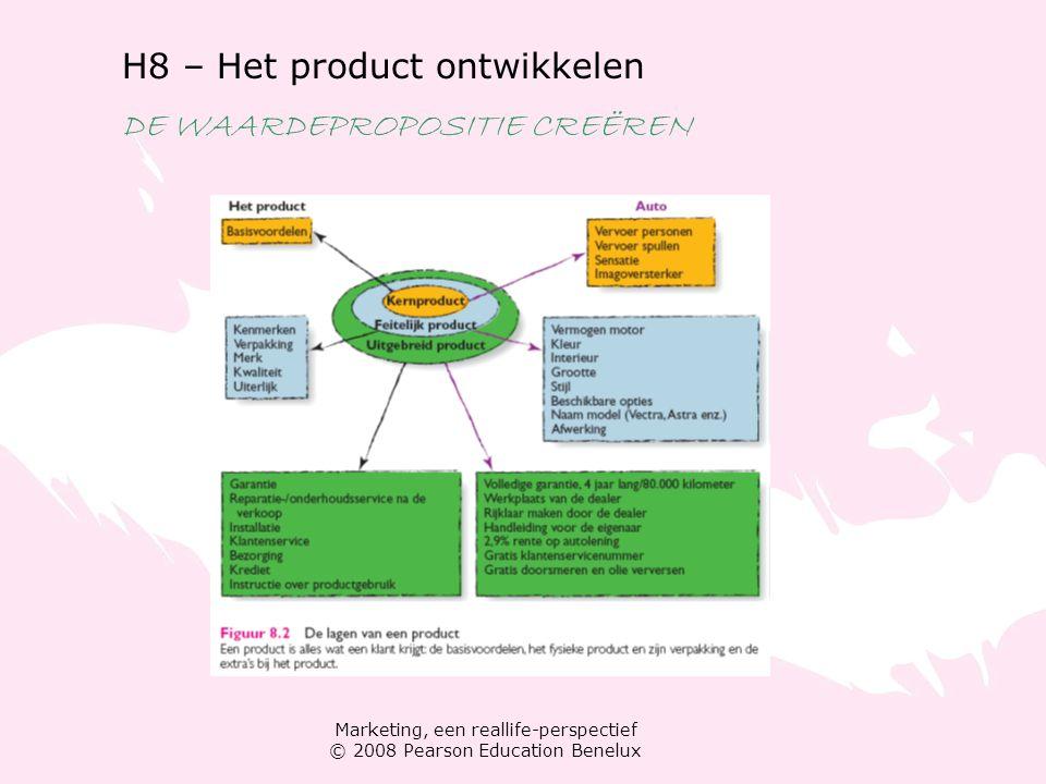 Marketing, een reallife-perspectief © 2008 Pearson Education Benelux H8 – Het product ontwikkelen DE WAARDEPROPOSITIE CREËREN Producten in categorieën indelen Hoe lang gaat een product mee.