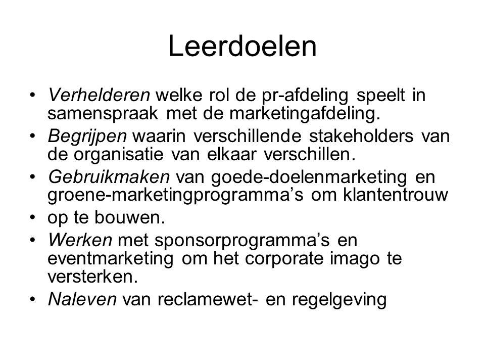 Leerdoelen Verhelderen welke rol de pr-afdeling speelt in samenspraak met de marketingafdeling.