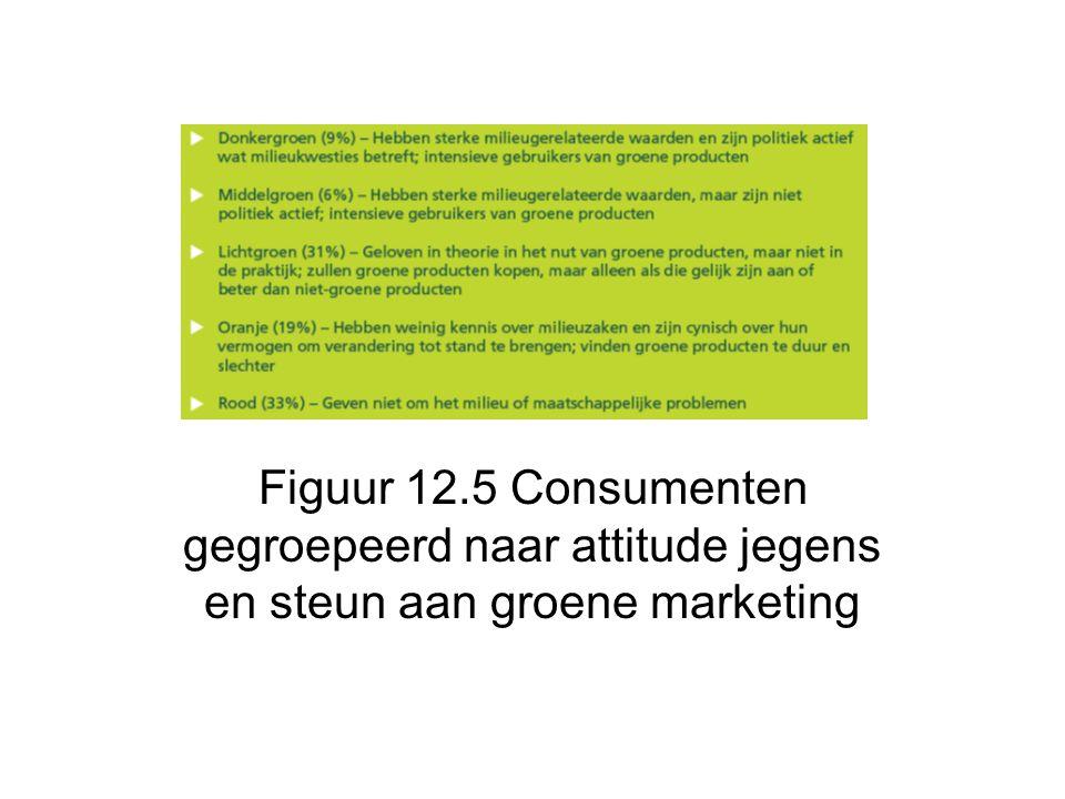 Figuur 12.5 Consumenten gegroepeerd naar attitude jegens en steun aan groene marketing