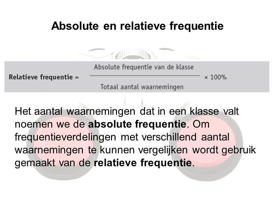 Absolute en relatieve frequentie Het aantal waarnemingen dat in een klasse valt noemen we de absolute frequentie. Om frequentieverdelingen met verschi