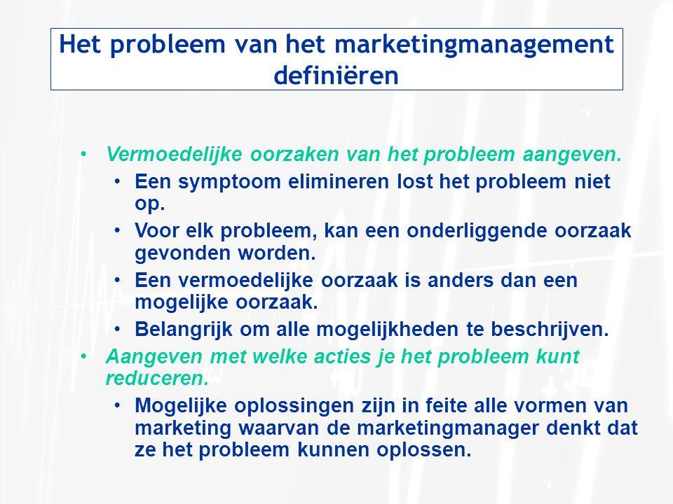 Het probleem van het marketingmanagement definiëren Vermoedelijke oorzaken van het probleem aangeven. Een symptoom elimineren lost het probleem niet o