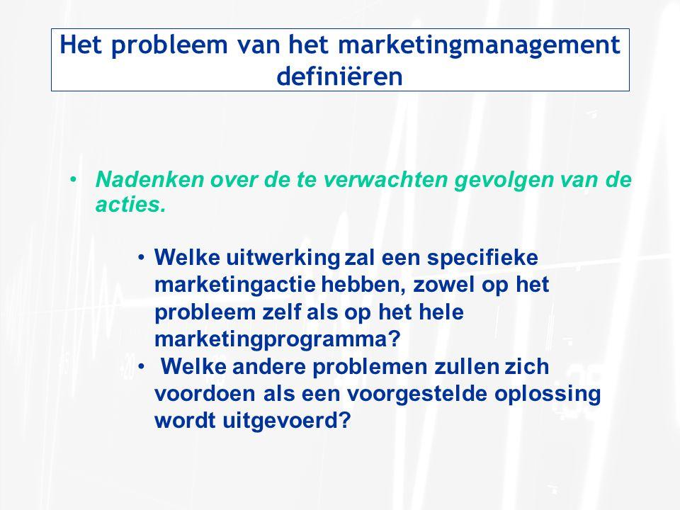 Het probleem van het marketingmanagement definiëren Nadenken over de te verwachten gevolgen van de acties. Welke uitwerking zal een specifieke marketi