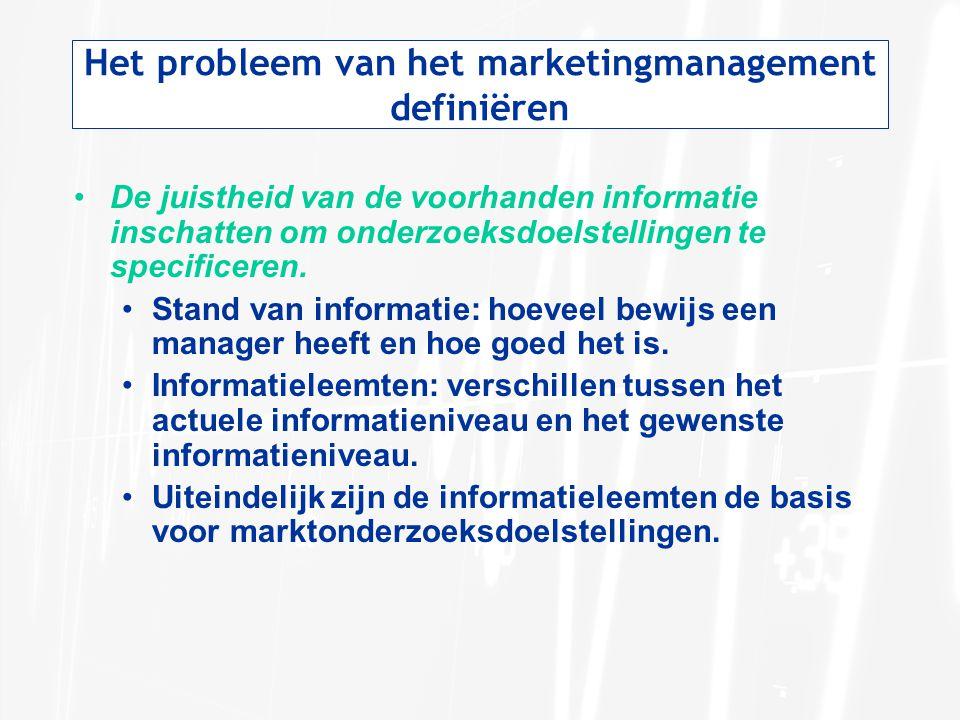 Het probleem van het marketingmanagement definiëren De juistheid van de voorhanden informatie inschatten om onderzoeksdoelstellingen te specificeren.