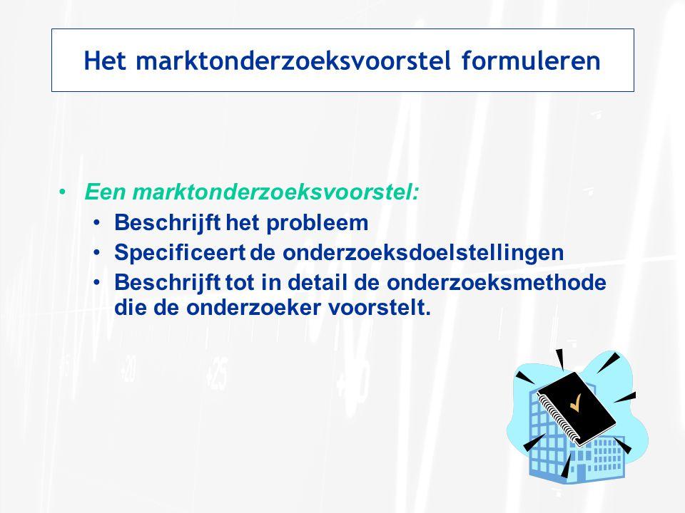 Het marktonderzoeksvoorstel formuleren Een marktonderzoeksvoorstel: Beschrijft het probleem Specificeert de onderzoeksdoelstellingen Beschrijft tot in
