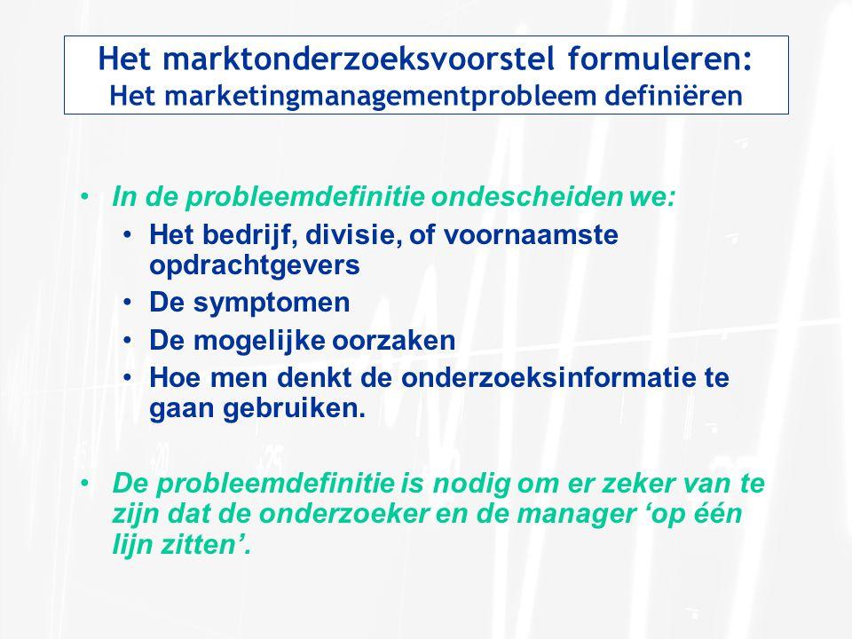 Het marktonderzoeksvoorstel formuleren: Het marketingmanagementprobleem definiëren In de probleemdefinitie ondescheiden we: Het bedrijf, divisie, of v