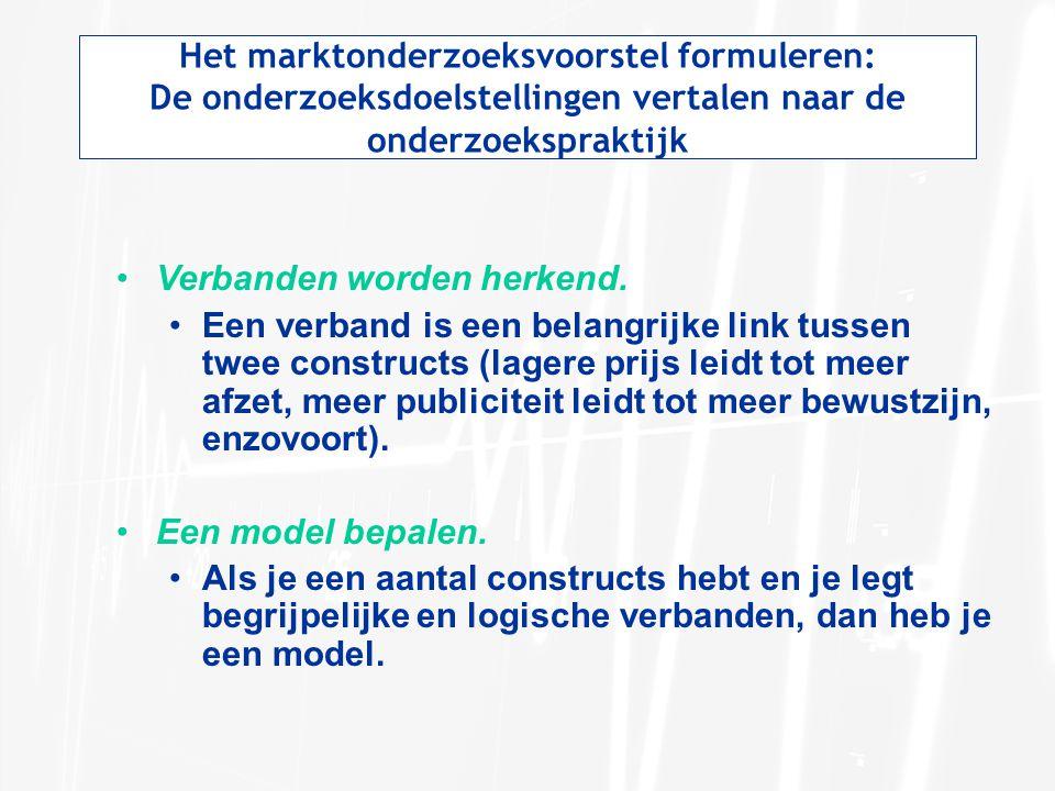 Het marktonderzoeksvoorstel formuleren: De onderzoeksdoelstellingen vertalen naar de onderzoekspraktijk Verbanden worden herkend. Een verband is een b