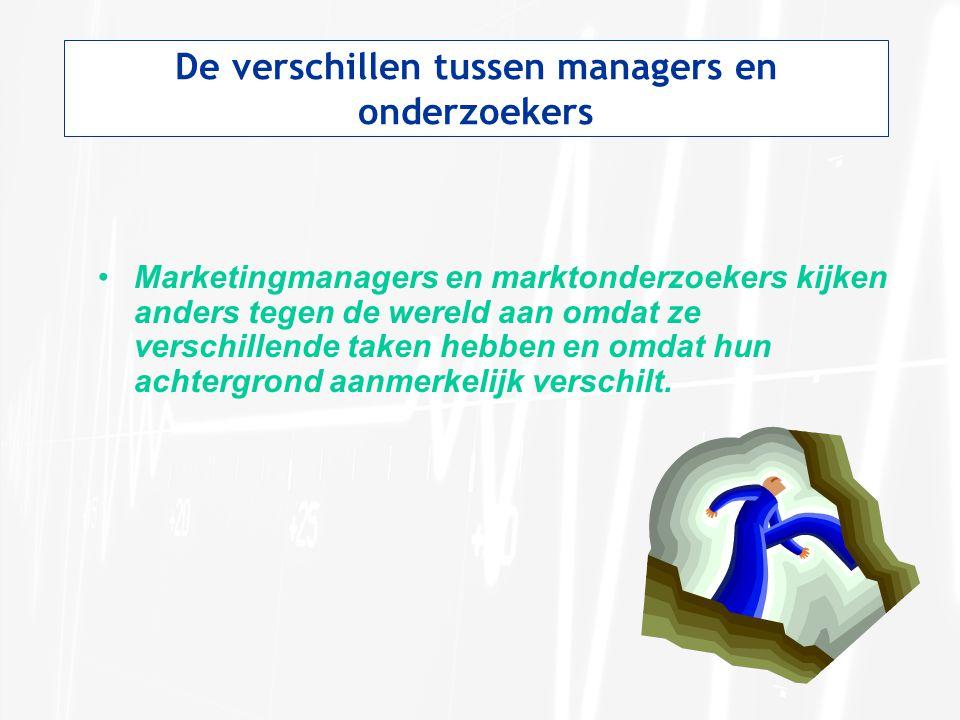 De verschillen tussen managers en onderzoekers Marketingmanagers en marktonderzoekers kijken anders tegen de wereld aan omdat ze verschillende taken h
