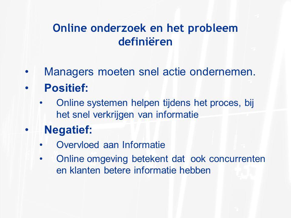 Online onderzoek en het probleem definiëren Managers moeten snel actie ondernemen. Positief: Online systemen helpen tijdens het proces, bij het snel v