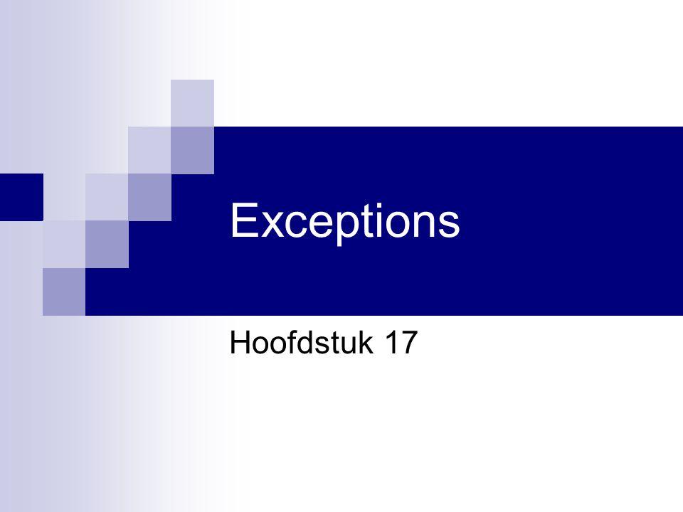 Hoofdstuk 17 Visual Basic.NET voor studenten12 Try-Catch: regels Zet een Try blok rond de code die je wil controleren op fouten Als in een statement een exception optreedt, stopt de uitvoering onmiddellijk Er wordt gesprongen naar het Catch blok, waar de exception afgehandeld wordt Als de exception niet wordt opgevangen, wordt deze doorgegooid naar de oproepende methode  Als ook deze ze niet kan opvangen  weer doorgooien  Uiteindelijk kom je uit bij de Main() procedure  stack trace  Demo: Exception Square 2