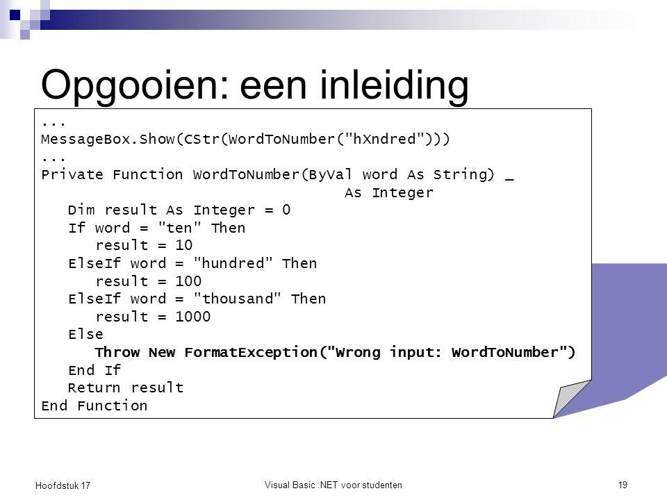 Hoofdstuk 17 Visual Basic.NET voor studenten19 Opgooien: een inleiding... MessageBox.Show(CStr(WordToNumber(
