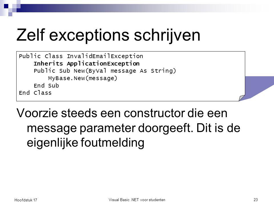 Hoofdstuk 17 Visual Basic.NET voor studenten23 Zelf exceptions schrijven Voorzie steeds een constructor die een message parameter doorgeeft. Dit is de