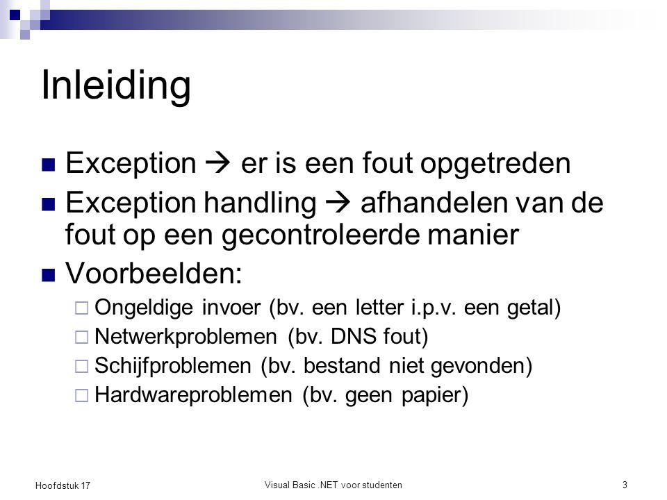 Hoofdstuk 17 Visual Basic.NET voor studenten3 Inleiding Exception  er is een fout opgetreden Exception handling  afhandelen van de fout op een gecon