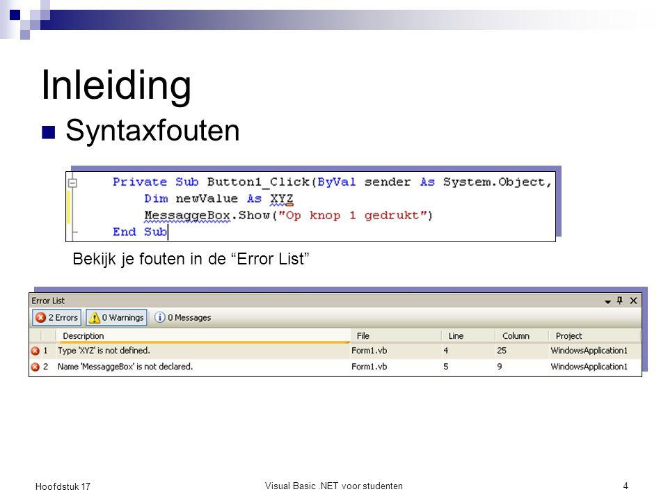 Hoofdstuk 17 Visual Basic.NET voor studenten5 Inleiding Run-time fouten  een onmogelijke operatie  Niet gedetecteerd door de compiler  Bv: deling door nul Logische fouten  Programma produceert foute resultaten  Niet altijd een crash tot gevolg.