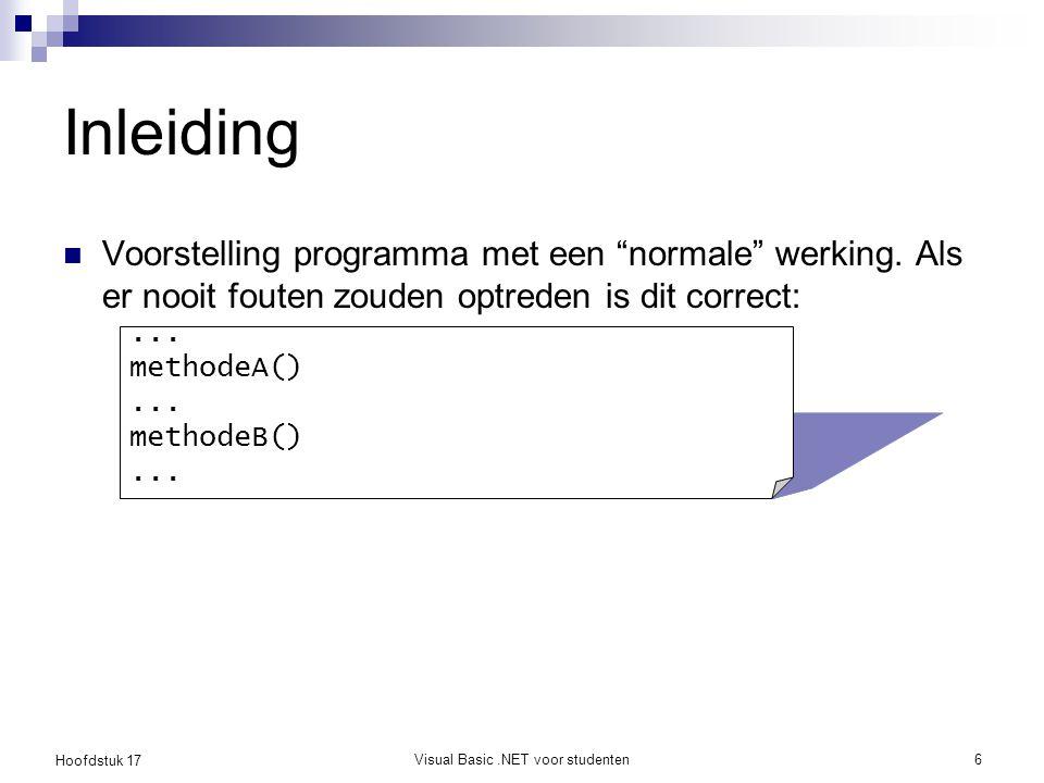 Hoofdstuk 17 Visual Basic.NET voor studenten7 Inleiding Robuust programma: omgaan met fouten op de oude manier...