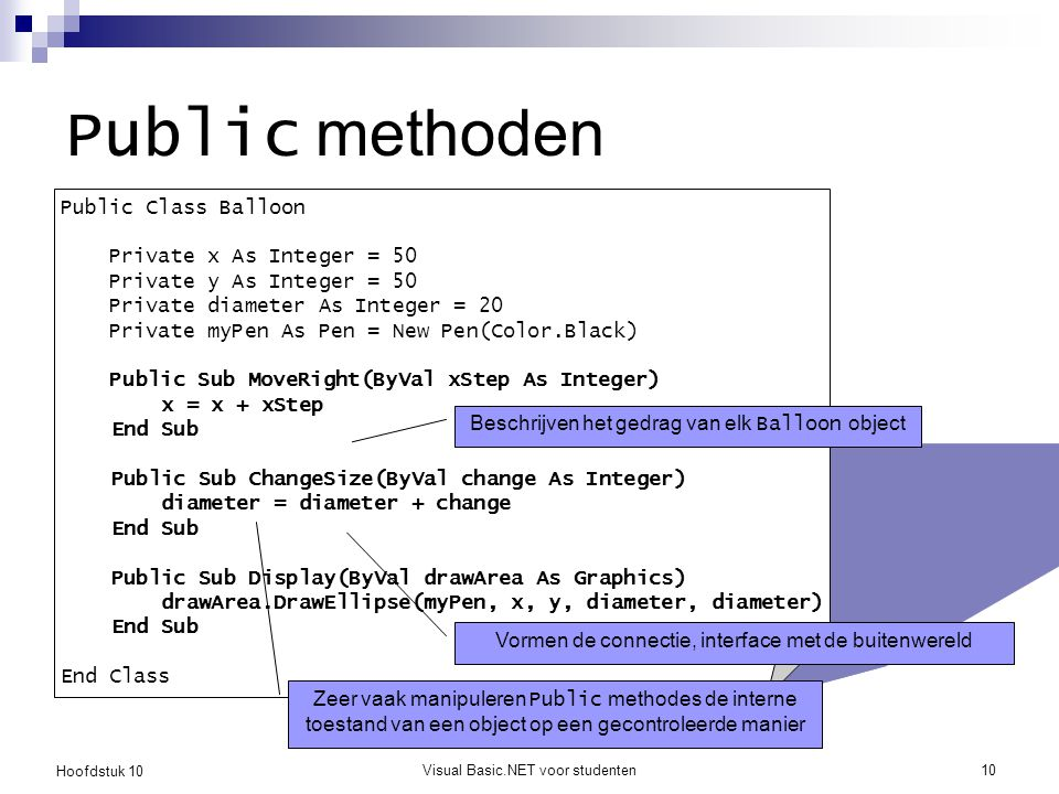 Hoofdstuk 10 Visual Basic.NET voor studenten10 Public methoden Public Class Balloon Private x As Integer = 50 Private y As Integer = 50 Private diameter As Integer = 20 Private myPen As Pen = New Pen(Color.Black) Public Sub MoveRight(ByVal xStep As Integer) x = x + xStep End Sub Public Sub ChangeSize(ByVal change As Integer) diameter = diameter + change End Sub Public Sub Display(ByVal drawArea As Graphics) drawArea.DrawEllipse(myPen, x, y, diameter, diameter) End Sub End Class Beschrijven het gedrag van elk Balloon object Vormen de connectie, interface met de buitenwereld Zeer vaak manipuleren Public methodes de interne toestand van een object op een gecontroleerde manier