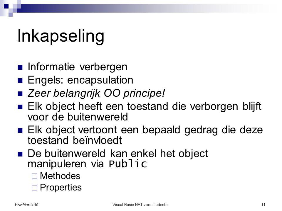 Hoofdstuk 10 Visual Basic.NET voor studenten11 Inkapseling Informatie verbergen Engels: encapsulation Zeer belangrijk OO principe! Elk object heeft ee