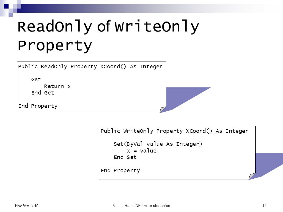 Hoofdstuk 10 Visual Basic.NET voor studenten17 ReadOnly of WriteOnly Property Public ReadOnly Property XCoord() As Integer Get Return x End Get End Pr
