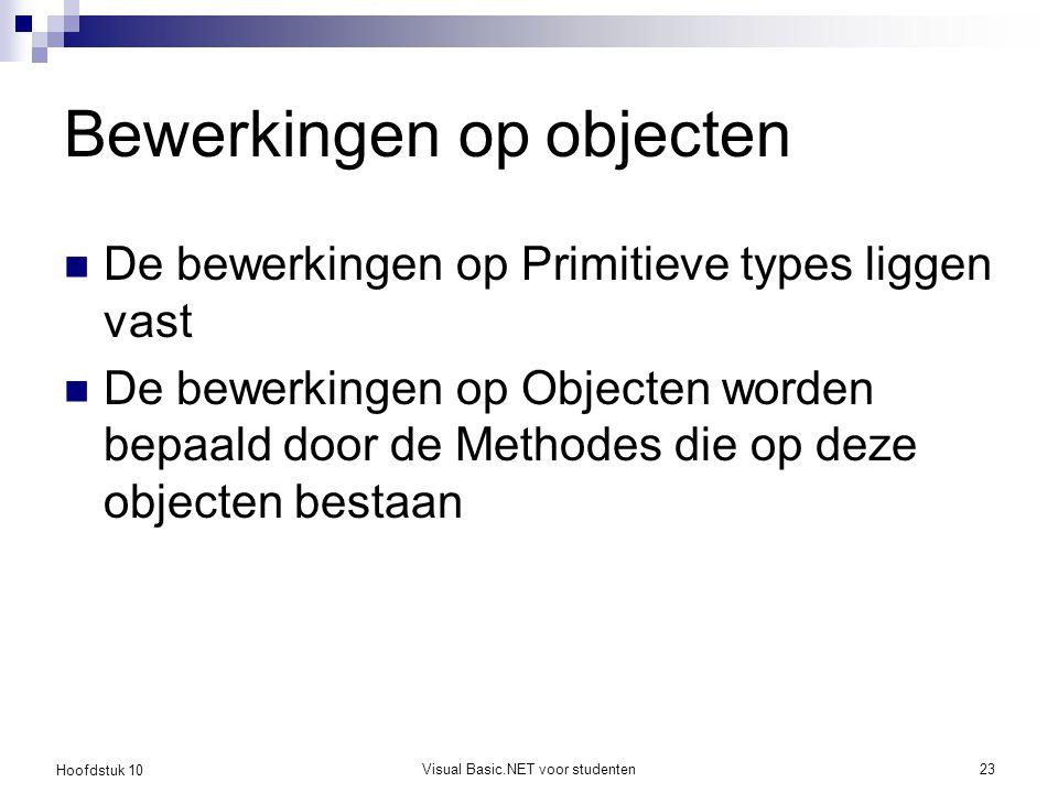 Hoofdstuk 10 Visual Basic.NET voor studenten23 Bewerkingen op objecten De bewerkingen op Primitieve types liggen vast De bewerkingen op Objecten worde