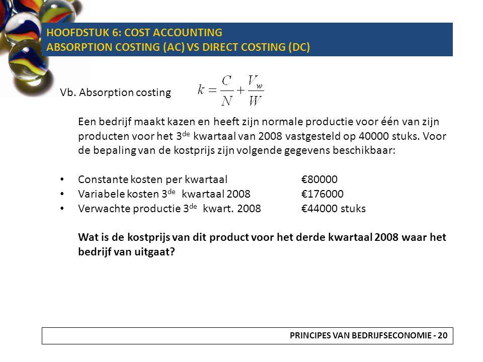 Vb. Absorption costing Een bedrijf maakt kazen en heeft zijn normale productie voor één van zijn producten voor het 3 de kwartaal van 2008 vastgesteld