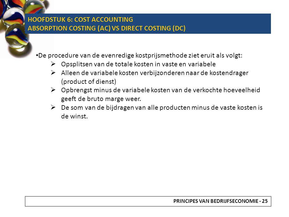 De procedure van de evenredige kostprijsmethode ziet eruit als volgt:  Opsplitsen van de totale kosten in vaste en variabele  Alleen de variabele ko