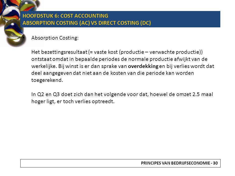 Absorption Costing: Het bezettingsresultaat (= vaste kost (productie – verwachte productie)) ontstaat omdat in bepaalde periodes de normale productie