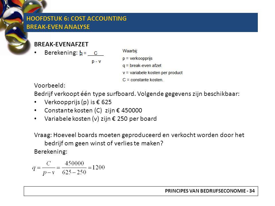 BREAK-EVENAFZET Berekening: Voorbeeld: Bedrijf verkoopt één type surfboard. Volgende gegevens zijn beschikbaar: Verkoopprijs (p) is € 625 Constante ko