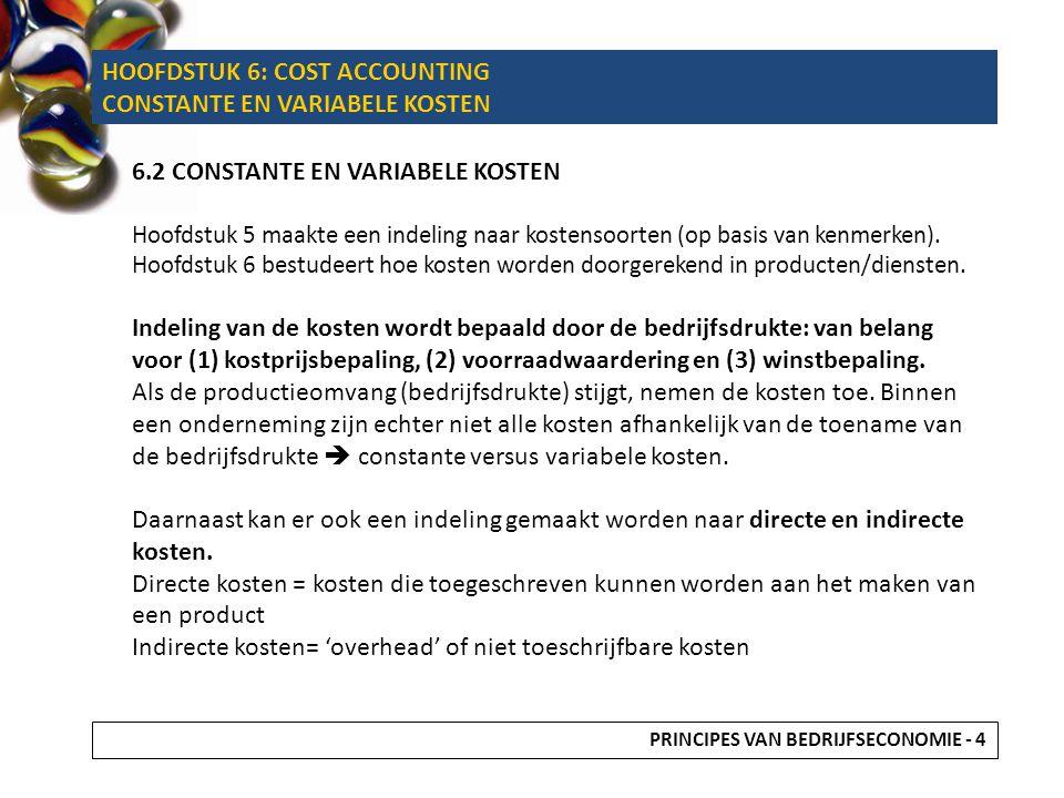6.2.1 CONSTANTE (VASTE) KOSTEN Structureel van aard Reageren (binnen bepaalde grenzen) niet op veranderingen in de bedrijfsdrukte (onafhankelijk!) Beperking in de capaciteit  Vb.
