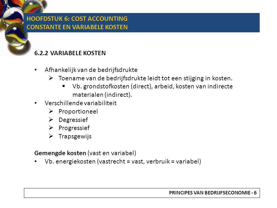 6.2.2 VARIABELE KOSTEN Afhankelijk van de bedrijfsdrukte  Toename van de bedrijfsdrukte leidt tot een stijging in kosten.  Vb. grondstofkosten (dire