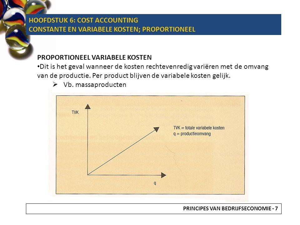 HOOFDSTUK 6: COST ACCOUNTING CONSTANTE EN VARIABELE KOSTEN; PROPORTIONEEL PROPORTIONEEL VARIABELE KOSTEN Dit is het geval wanneer de kosten rechtevenr