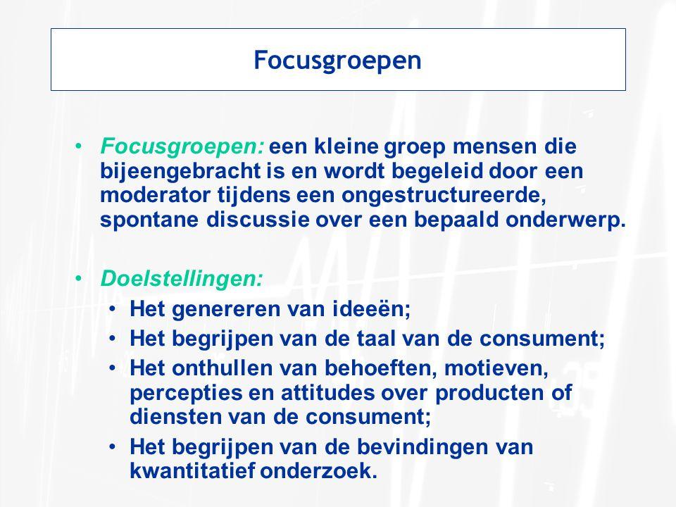 Focusgroepen Focusgroepen: een kleine groep mensen die bijeengebracht is en wordt begeleid door een moderator tijdens een ongestructureerde, spontane