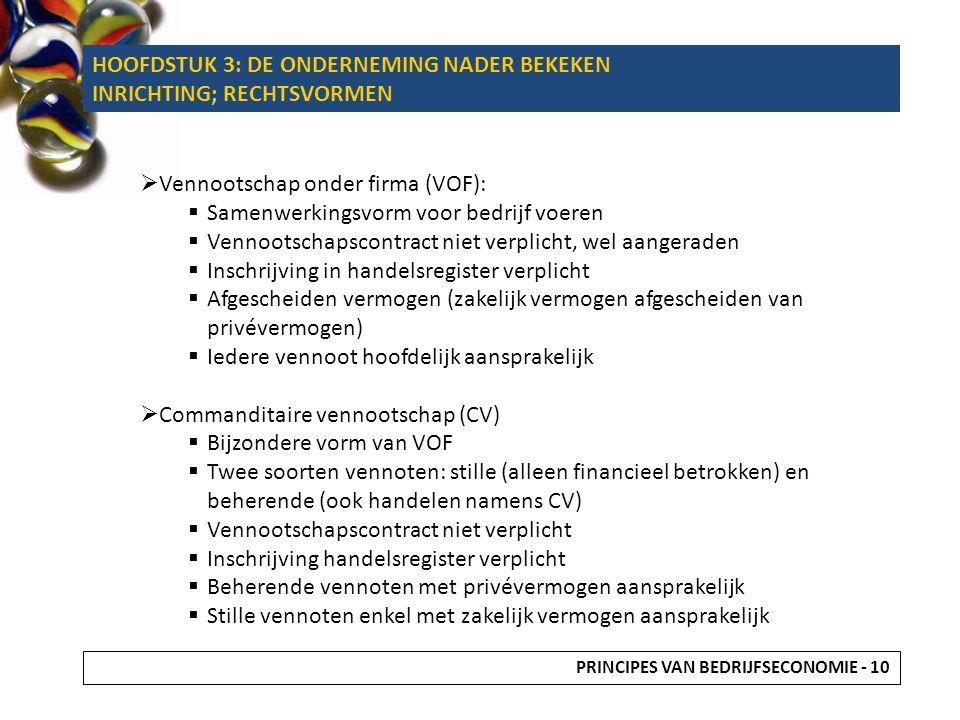 HOOFDSTUK 3: DE ONDERNEMING NADER BEKEKEN INRICHTING; RECHTSVORMEN  Vennootschap onder firma (VOF):  Samenwerkingsvorm voor bedrijf voeren  Vennoot