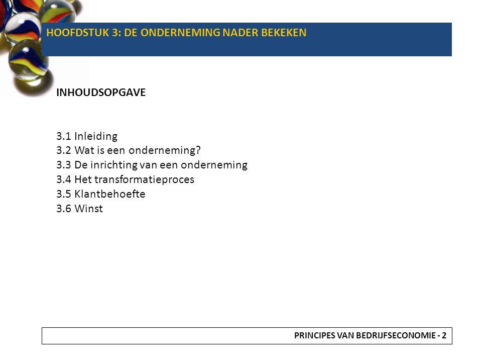 HOOFDSTUK 3: DE ONDERNEMING NADER BEKEKEN INHOUDSOPGAVE 3.1 Inleiding 3.2 Wat is een onderneming? 3.3 De inrichting van een onderneming 3.4 Het transf