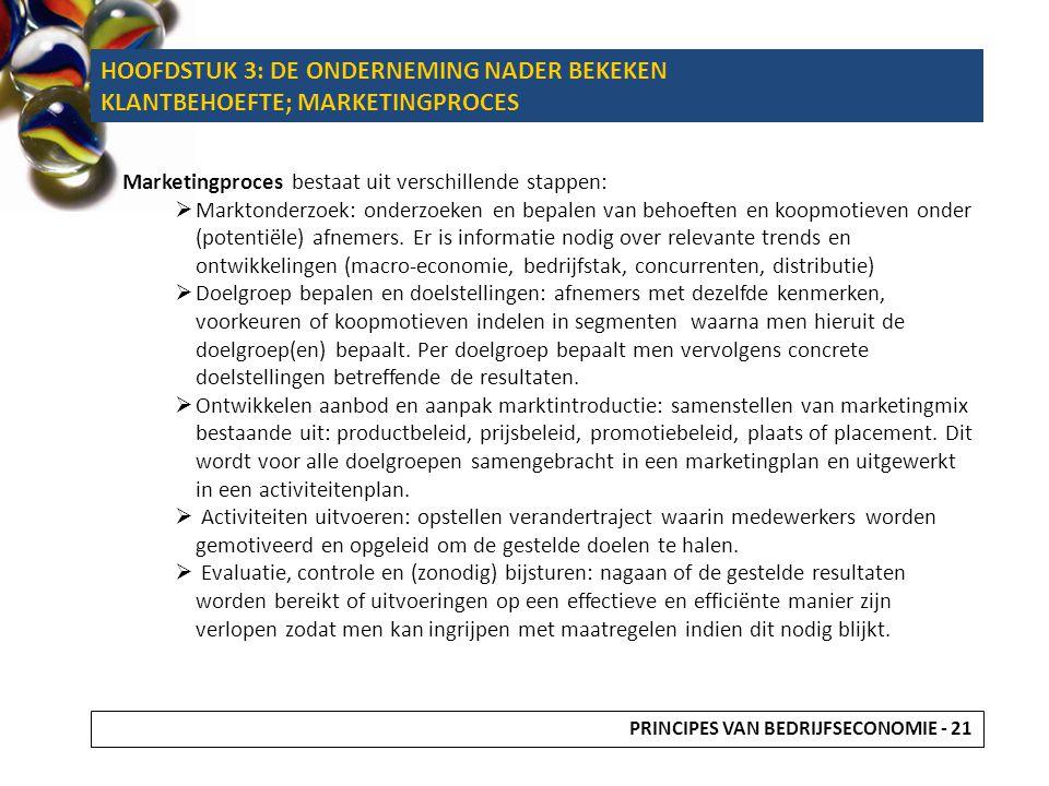 HOOFDSTUK 3: DE ONDERNEMING NADER BEKEKEN KLANTBEHOEFTE; MARKETINGPROCES Marketingproces bestaat uit verschillende stappen:  Marktonderzoek: onderzoe
