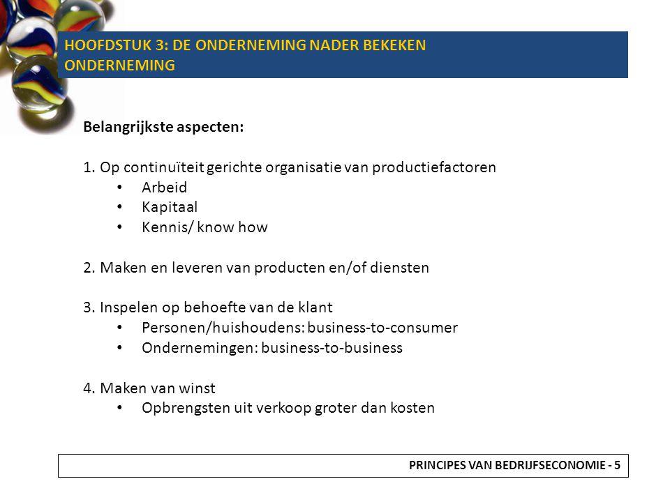 HOOFDSTUK 3: DE ONDERNEMING NADER BEKEKEN ONDERNEMING Belangrijkste aspecten: 1. Op continuïteit gerichte organisatie van productiefactoren Arbeid Kap