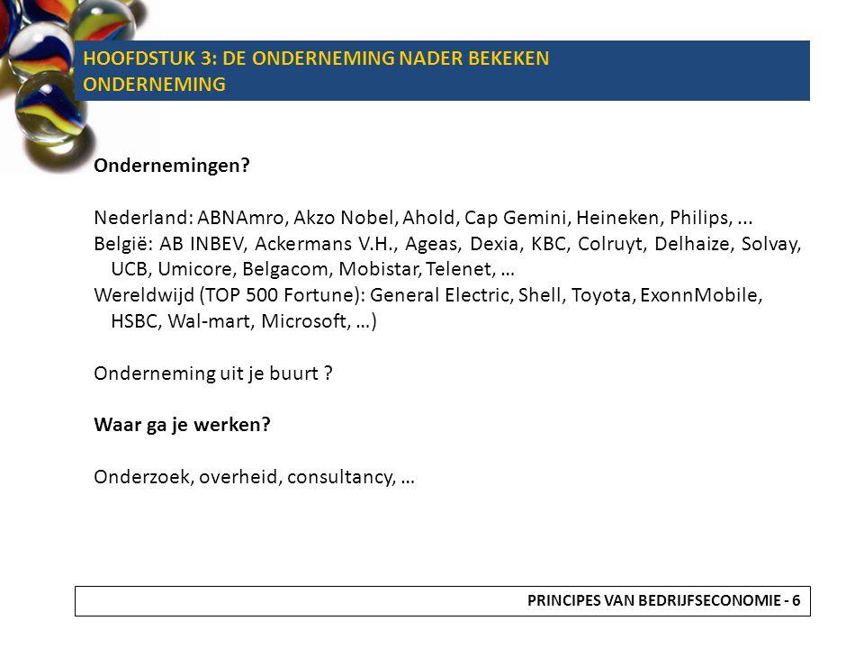 HOOFDSTUK 3: DE ONDERNEMING NADER BEKEKEN ONDERNEMING Ondernemingen? Nederland: ABNAmro, Akzo Nobel, Ahold, Cap Gemini, Heineken, Philips,... België: