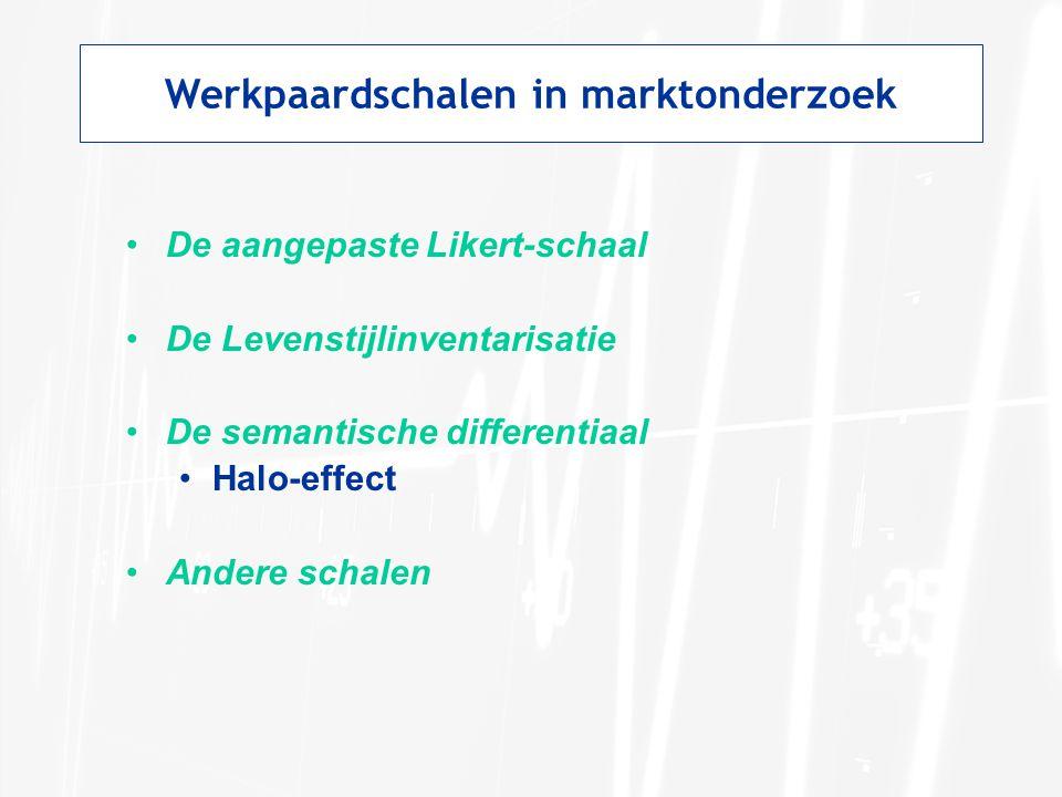 Werkpaardschalen in marktonderzoek De aangepaste Likert-schaal De Levenstijlinventarisatie De semantische differentiaal Halo-effect Andere schalen