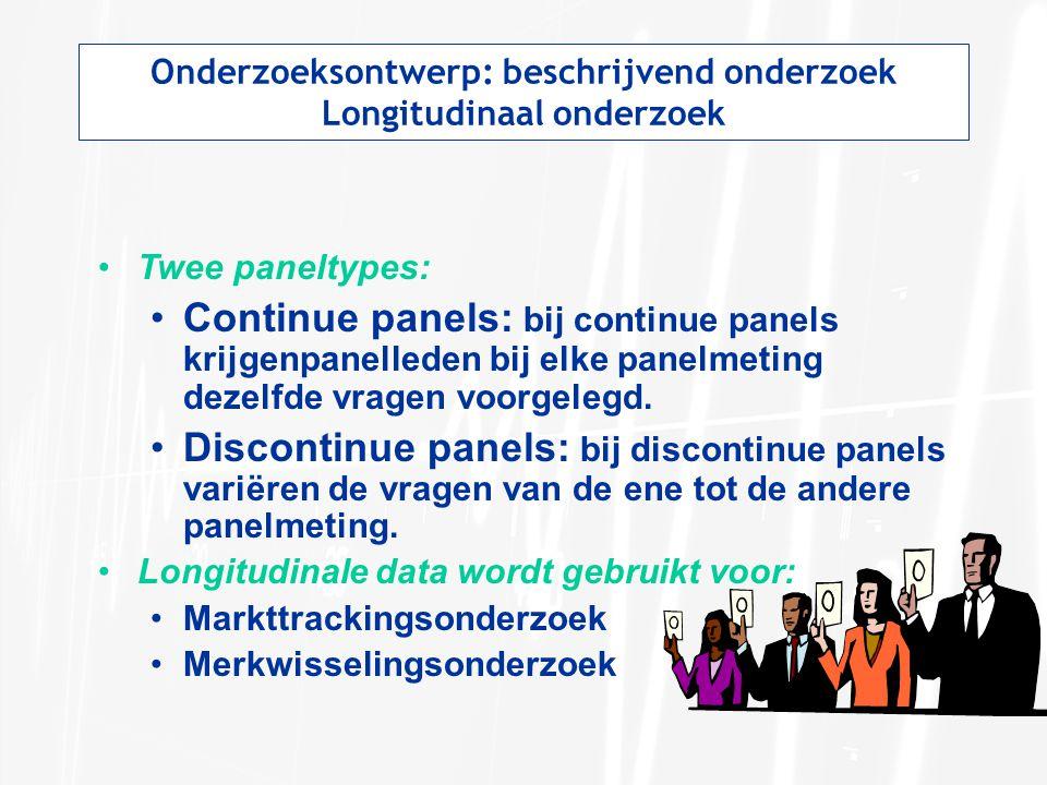 Onderzoeksontwerp: beschrijvend onderzoek Longitudinaal onderzoek Twee paneltypes: Continue panels: bij continue panels krijgenpanelleden bij elke pan