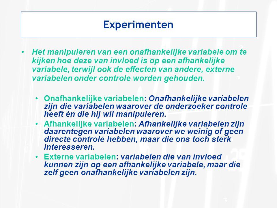 Experimenten Het manipuleren van een onafhankelijke variabele om te kijken hoe deze van invloed is op een afhankelijke variabele, terwijl ook de effec