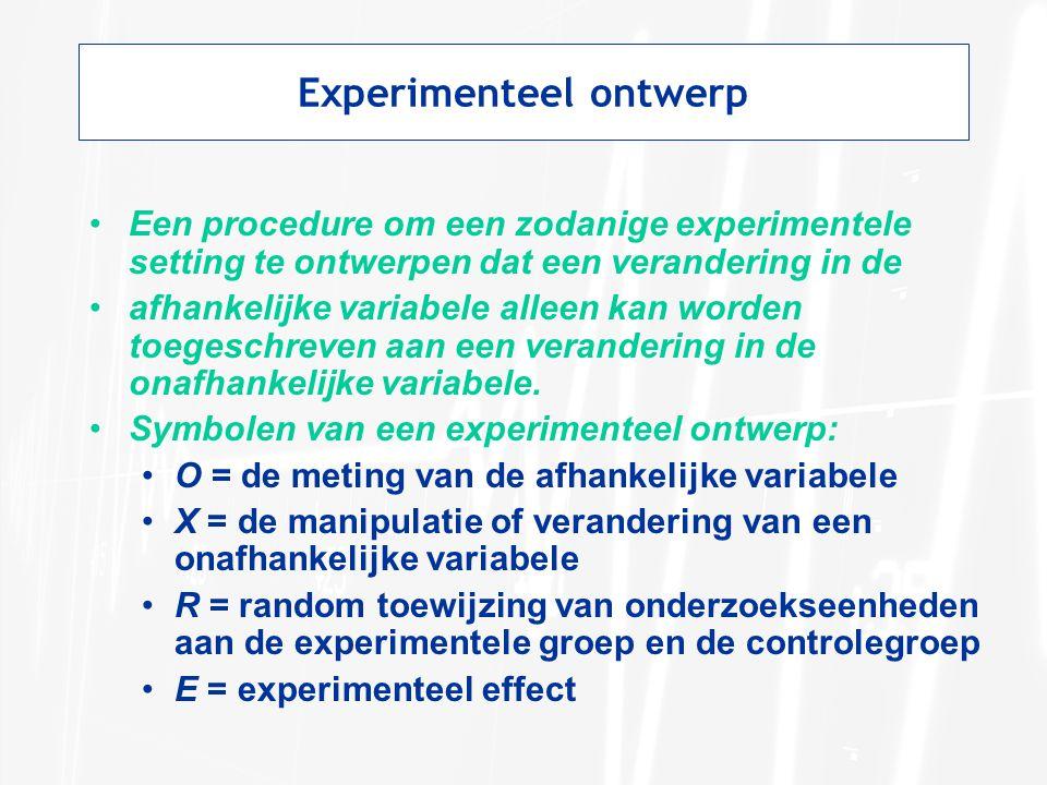 Experimenteel ontwerp Een procedure om een zodanige experimentele setting te ontwerpen dat een verandering in de afhankelijke variabele alleen kan wor