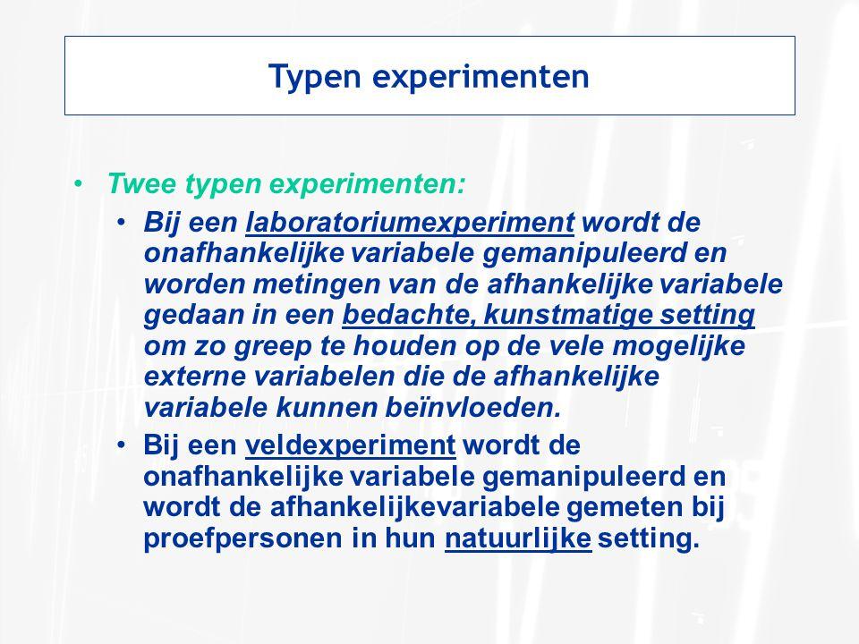 Typen experimenten Twee typen experimenten: Bij een laboratoriumexperiment wordt de onafhankelijke variabele gemanipuleerd en worden metingen van de a