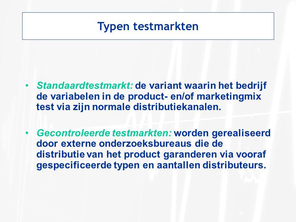 Typen testmarkten Standaardtestmarkt: de variant waarin het bedrijf de variabelen in de product- en/of marketingmix test via zijn normale distributiek