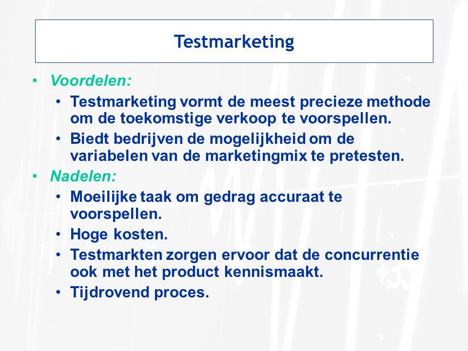 Testmarketing Voordelen: Testmarketing vormt de meest precieze methode om de toekomstige verkoop te voorspellen. Biedt bedrijven de mogelijkheid om de